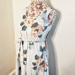 Armani Exchange Pixelated Floral Dress White Blue
